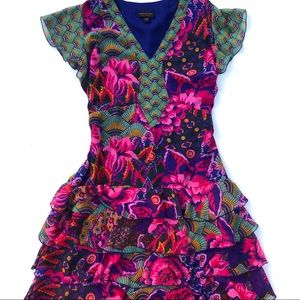 Anna Scholz Floral Abstract Ruffle Tiered Dress